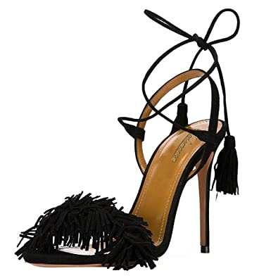 Modemoven Damens's Suede Toe Fringe Open Toe Suede Heeled Sandales 4ae8bf