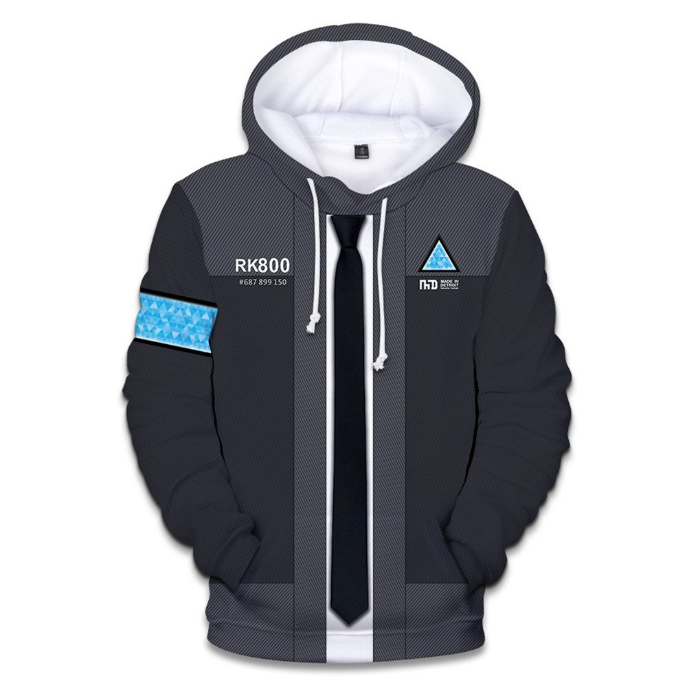 VOSTE Become Human Hoodie 3D Printed Hooded Pullover Sweatshirt (X-Large, Color 8)