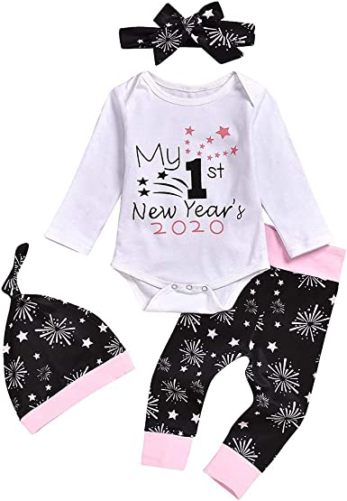 Amazon Com Baby Outfit Set My 1st New Year S 2020 Print Infant Clothes Long Sleeve Romper Pants Headband Hat Clothes Set Clothing