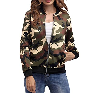 b8520e9760cb2 EVEDESIGN Women's Military Camo Print Bomber Jacket Lightweight Zip up Long  Sleeve Coat at Amazon Women's Coats Shop
