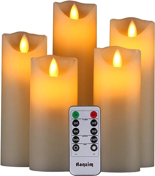 Gbateri LED sans flamme Bougie Lot de 3réalisée en cire véritable Lumière