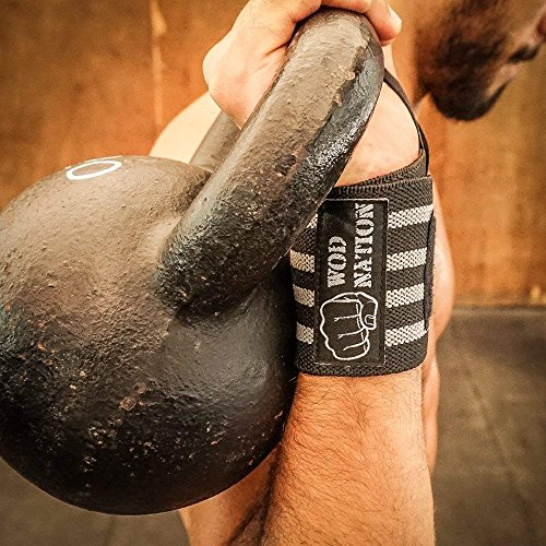 WOD Nation Wrist Wraps by Wrist Support Straps (12'', 18'' or 24'') - Fits Both Men & Women - Strength Training, Weightlifting, Powerlifting - Lift Heavier Weight (18 Inch - Black/Grey) by WOD Nation (Image #6)