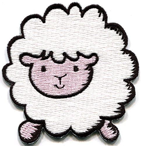 White sheep lamb ewe farm animal fun retro embroidered applique iron-on patch - Lamb Applique