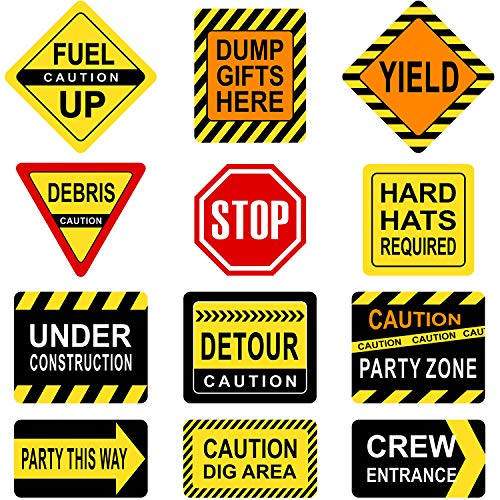 (Blulu Construction Themed Party Decorations, 10-11.8 Inch Laminated Caution Traffic Signs, Construction Theme Party Signs, Paper Cutouts with 40 Glue Point Dots (12 Pieces Construction)