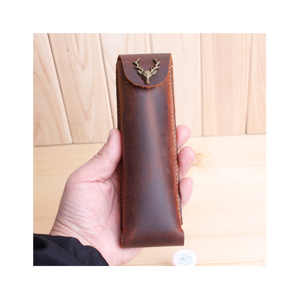 XIDUOBAO Genuine Leather Handmade Pen Pencil Mark Case Holder Pouch for Students Professionals and Artists Gift--Brown