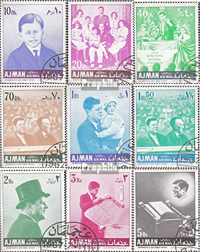 John F Kennedy Stamp - Ajman 141A-149A (Complete.Issue.) 1967 50. Birthday John F. Kennedy (Stamps for Collectors) Celebrities/Movies/Theater