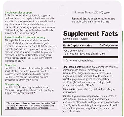 Garlique Cardiovascular Dietary Supplement, Green, 30 Count
