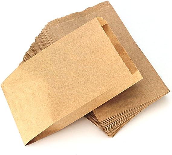 Image ofRUBY - 100 Kraft bolsa de papel marrón, bolsas de regalo/bolsas de fiesta/calendario de adviento/navidad/bodas/fiestas de cumpleaños/mercados/cafeterías (15cm x 26cm, 100 unids)