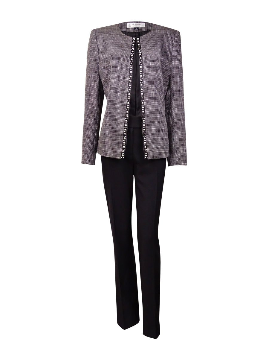 Tahari Women's Rob NYC Glamour Beaded Woven Pant Suit (10, Black/White)