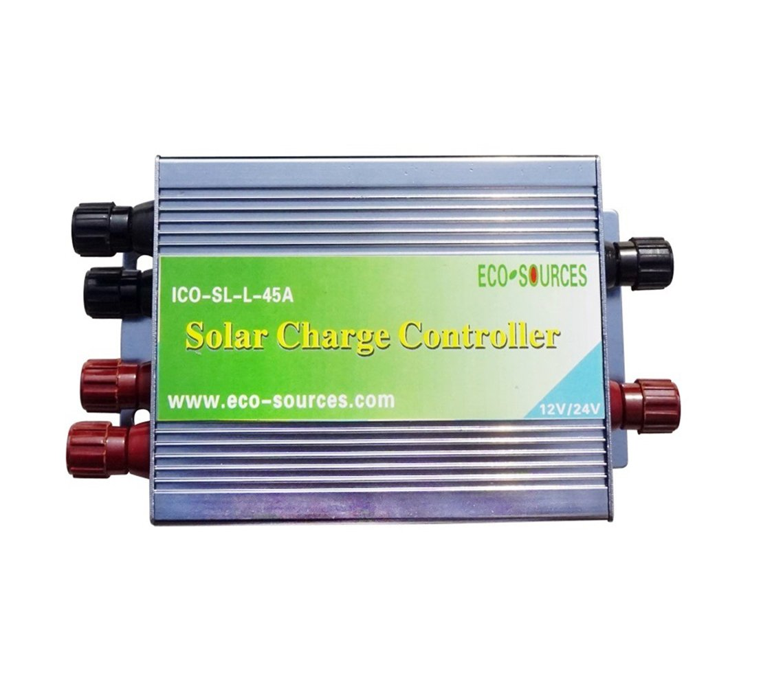 Eco Worthy 45a Pwm Solar Charge Controller Off Grid 12v 24vdc Power Supply 24v Battery Regulator Garden Outdoor
