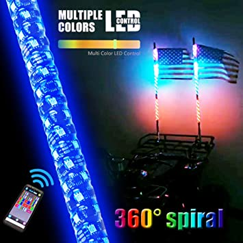 Pair of 3ft Dream Color Chasing LED Whip Lights Spiral Tube Blue-tooth Control