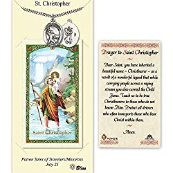 Pewter St. Christopher Football Medal On An 24 Inch Heavy Curb Chain With A Prayer To St Cristopher Prayer Card.