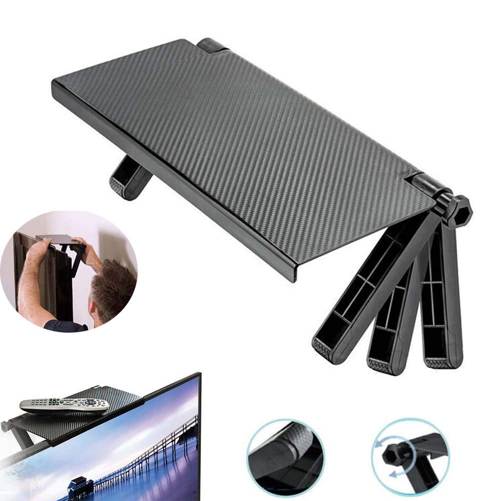 2Pcs Durable TV Screen Caddy Screen Top Shelf Storage Rack,Portable Adjustable Top Shelf TV Screen Display Mounting Bracket for Fixing Cable Box