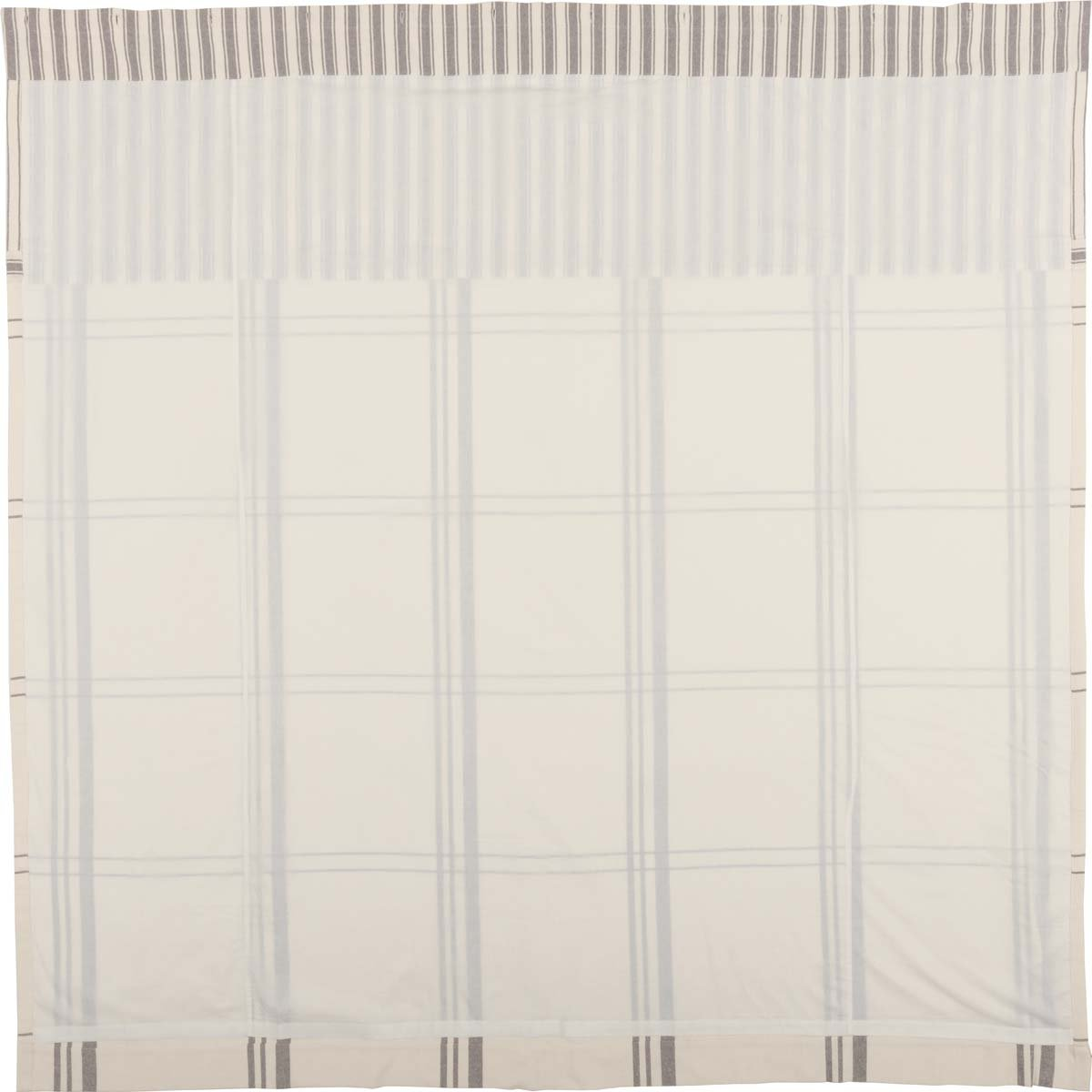 Piper Classics Market Place Shower Curtain, 72'' x 72'', Ticking Stripe w/Grey & Cream Plaid by Piper Classics (Image #3)