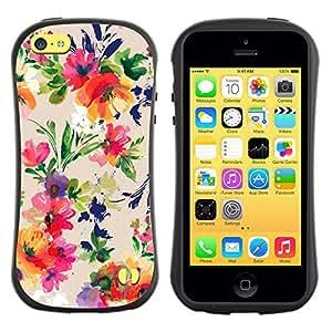 """Pulsar iFace Series Tpu silicona Carcasa Funda Case para Apple iPhone 5C , Ramo de la flor del patrón Wallpaper"""""""