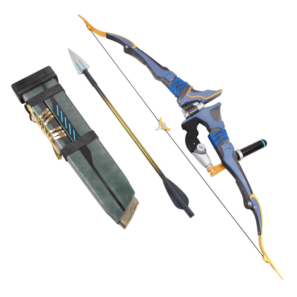 Mtxc Overwatch Cosplay Prop Hanzo Bow & Arrows & Quiver Blue