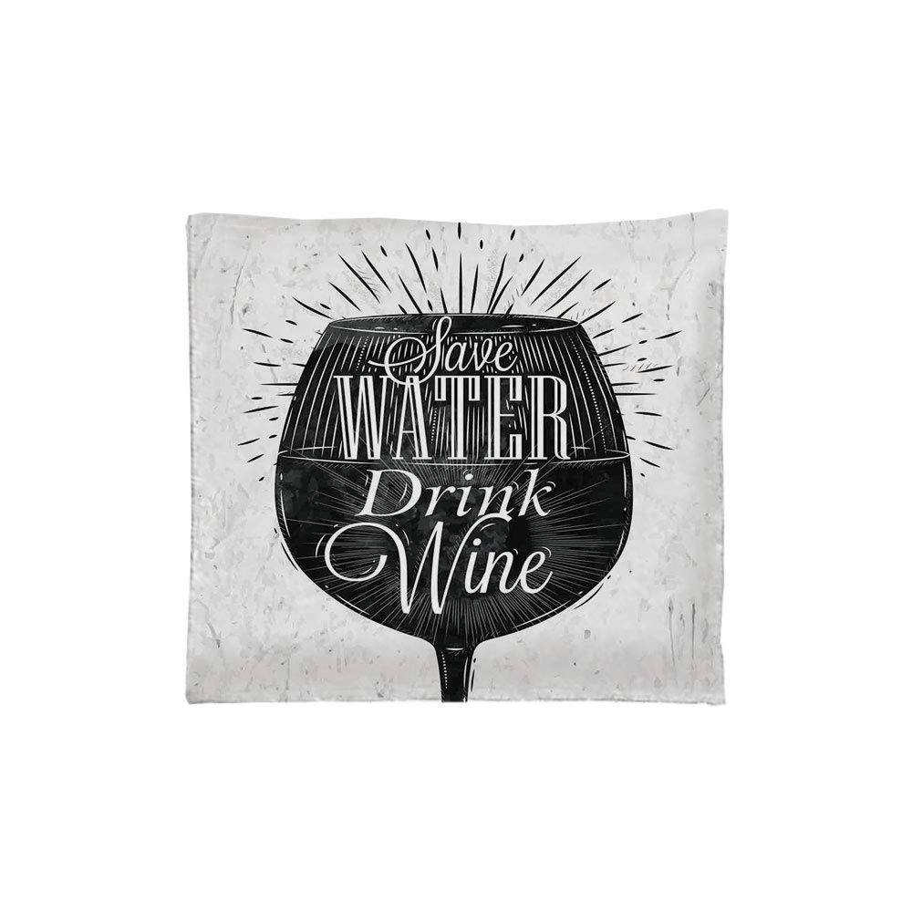 iPrint Indoor/Outdoor Square Seat Cushion,Comfort Memory Foam Chair Pad,Kitchen Decor,Save Water Drink Wine Quote Wine Glass Cafe Decor Chalkboard Style Retro,Black White,Fit for Most of Chairs