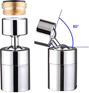 Waternymph Kitchen Sink Faucet Aerator Solid Brass - Big Angle Swivel Faucet Aerator Dual-function 2 Sprayer kitchen faucet attachment swivel sprayer- 360-Degree Swivel - Polished Chrome/ 1.8GPM