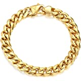 Trendsmax 11mm/15mm Men's 316L Stainless Steel Gold Chunky Curb Cuban Link Chain Bracelet Gifts for Men Boys 8 9 10 inch