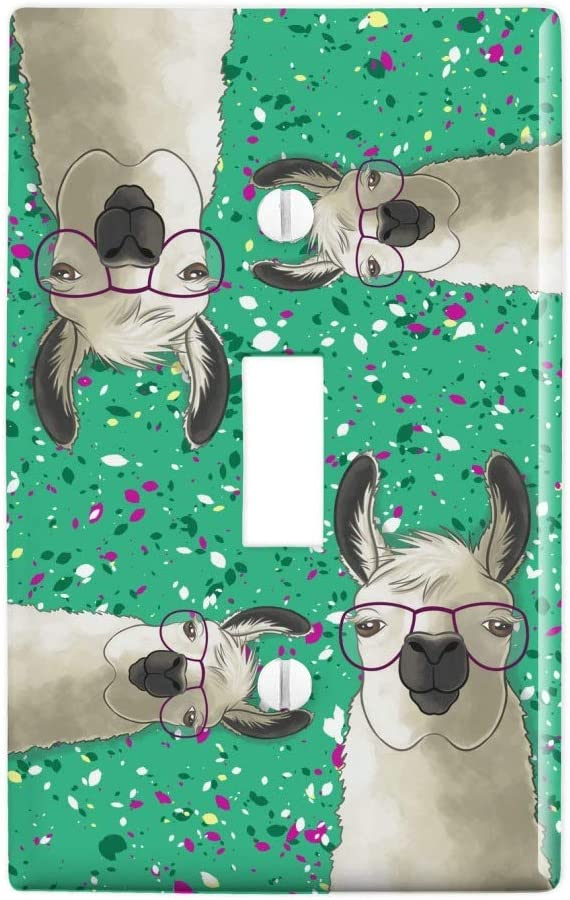 GRAPHICS & MORE Hip Llama with Glasses Plastic Wall Decor Toggle Light Switch Plate Cover