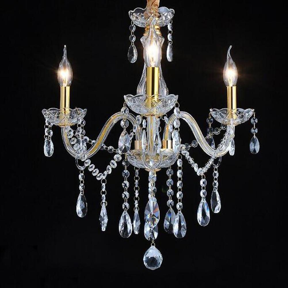 Wei-d 3 Heads Gold Luxury European Crystal Chandelier Hotel Crystal Lamp 110V Crystal Chandelier , as picture by WEIWEI (Image #4)