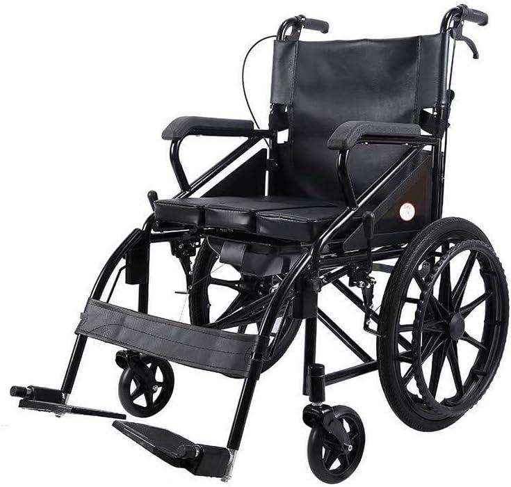 FTFTO Productos para el hogar Tapa de Inodoro Andador para Ancianos Silla de Ruedas Plegable Ligero Marco para Caminar Patinete Manual con Asiento multifunción