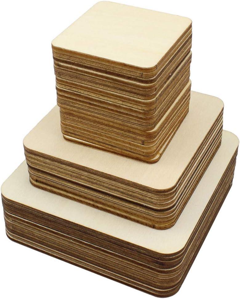 Cuadrados de madera en blanco sin terminar de 42 piezas, 3 tamaños, piezas de madera para proyectos de manualidades, arte de pirografía, grabado láser, pintura, quemado de madera (10 cm, 8 cm, 5 cm)