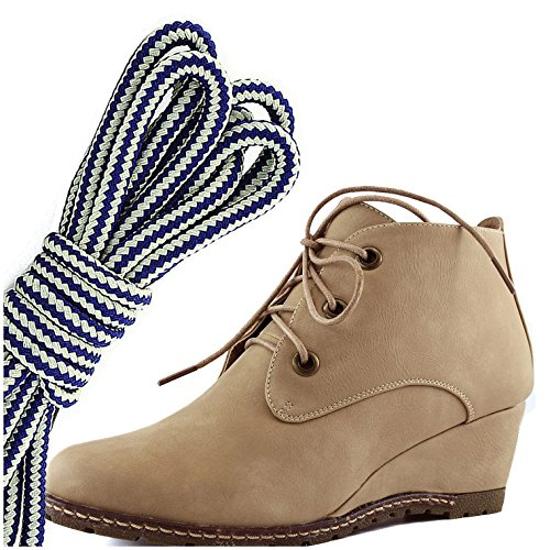 DailyShoes Womens Fashion Lace Up Round Toe Ankle High Oxford Wedge Bootie, Navy Blue White Beige Pu