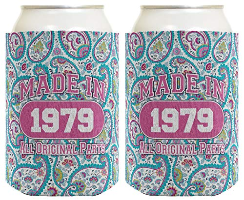 40th Birthday Gift Coolie Made 1979 Can Coolies 2 Pack Can Coolie Drink Coolers Coolies Paisley