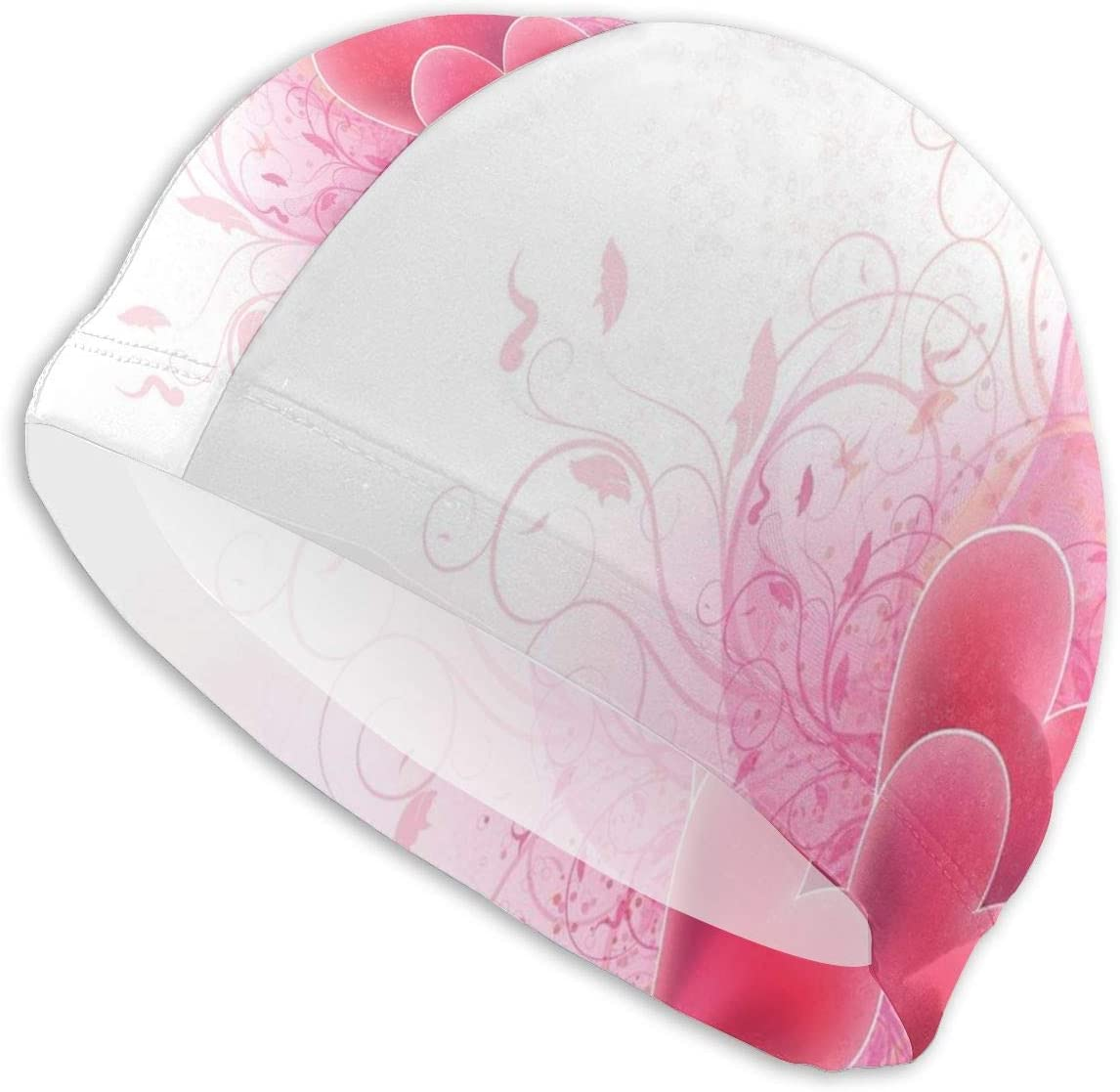 Gebrb Gorro de Baño/Gorro de Natacion, Elastic Swimming Hat Diving Caps,Love Valentines Day Themed Hearts Floral Arrangement Romantic Amour Illustration,For Men Women Youths