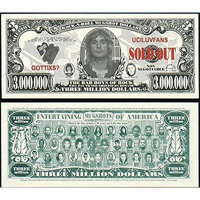"Ozzy Osbourne ""The Bad Boys of Rock"" Mugshot Novelty $3 $Million Dollar Bill: Toys & Games"