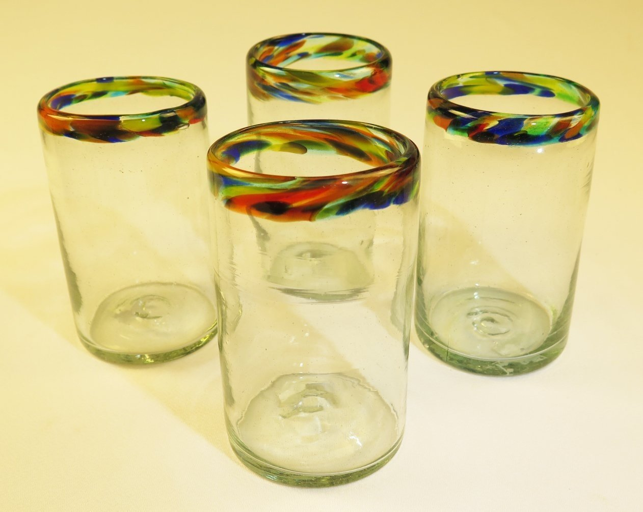 Mexican Glasses Confetti Rim Tumblers, Traditional glass from Mexico, 16 oz, (4) Eye4Art