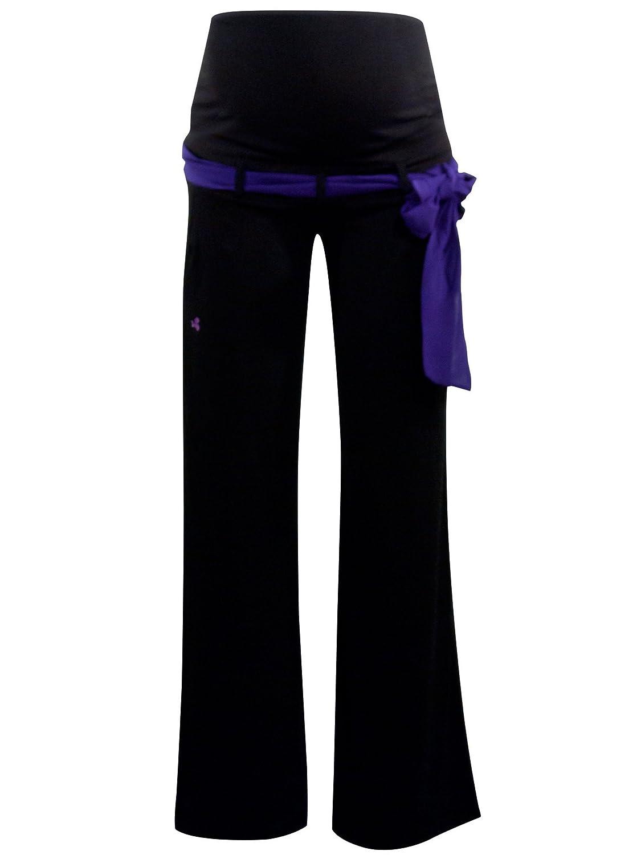 titoon® - Pantalon de Grossesse - Elegant et Fluide - Noir, Ceinture Violette