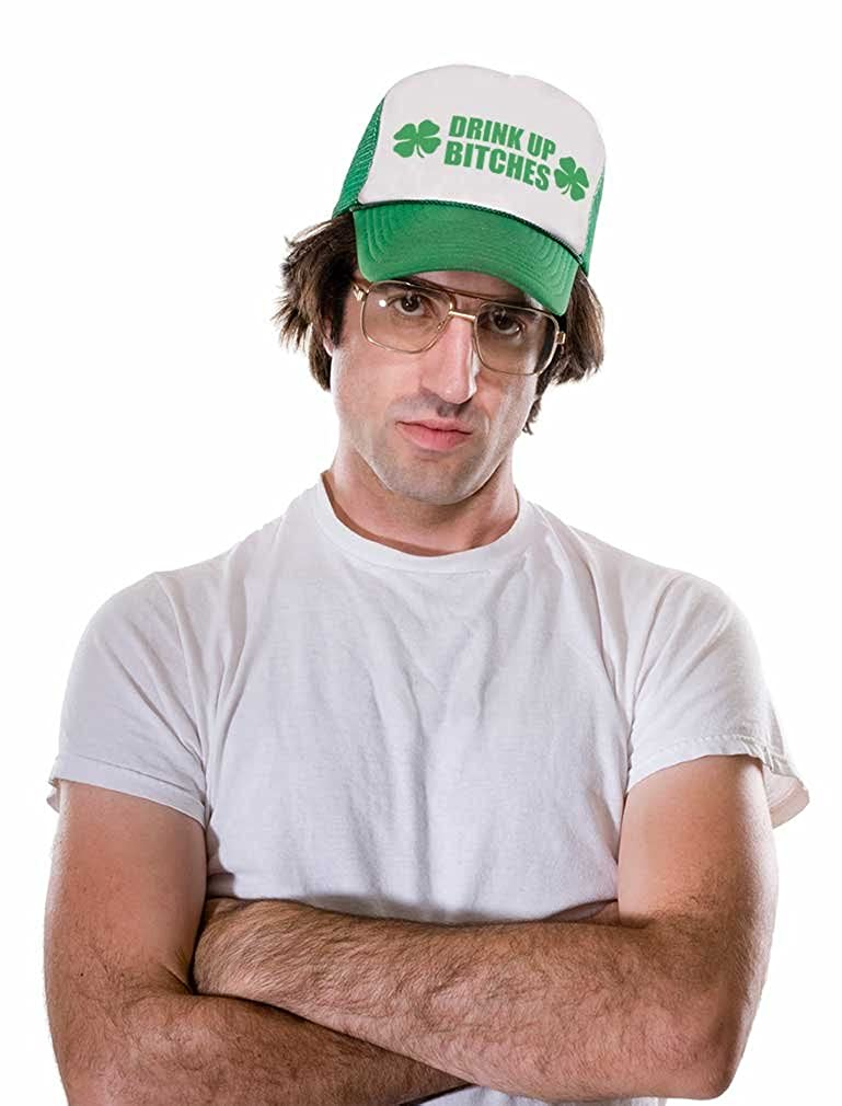 St.Patricks Gift Irish Clovers Party Trucker Hat Mesh Cap Drink Up Bitches