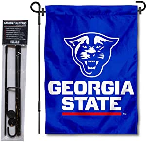 Georgia State Panthers New Logo Garden Flag and USA Flag Stand Pole Holder Set
