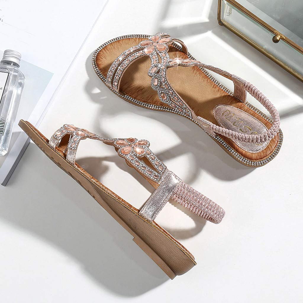 Women Wedge Beach Shoes lkoezi Lady Black Slide Sandals Hand-Made Rhinestones Sandals Fashion Outdoor Sandals Slippers
