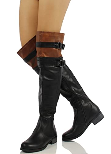 Soda Women's Ride Faux Leather Over The Knee Riding Boots