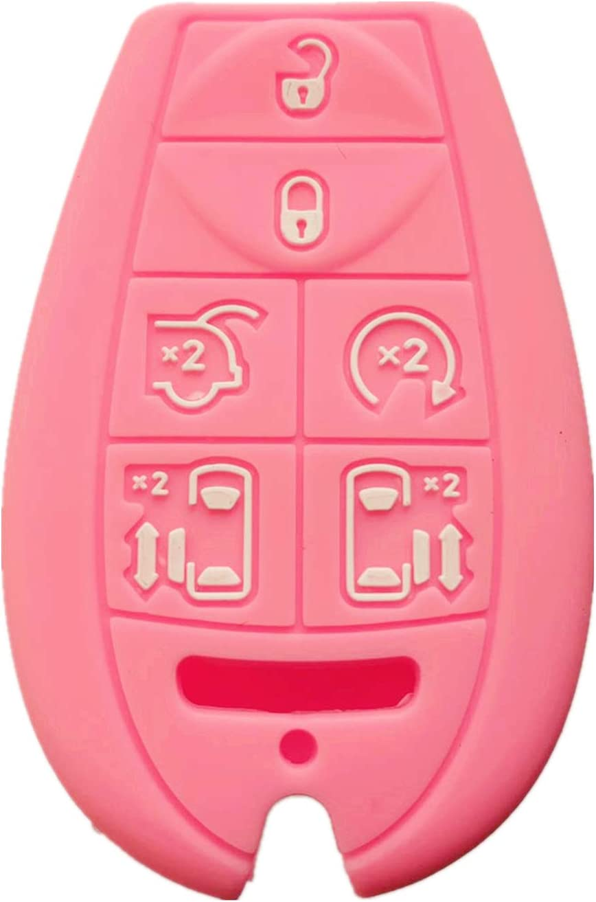 Rpkey Silicone Keyless Entry Remote Control Key Fob Cover Case protector For Chrysler Town /& Country Dodge Grand Caravan Volkswagen Routan M3N5WY783X 2701A-C01C 68043594AA 68043594 AA Pink