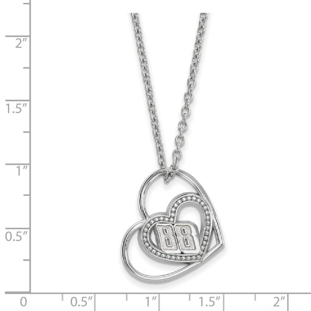NASCAR 88 Dale Earnhardt Jr SS PIERCED HEART PATTERN with 88 PENDANT with 18 SILVER CHAIN