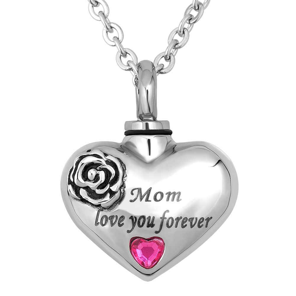 Infinite Memories Rose Pink Heart Love You Forever Pendant Urn Necklace for Cremation Ashes (Mom)