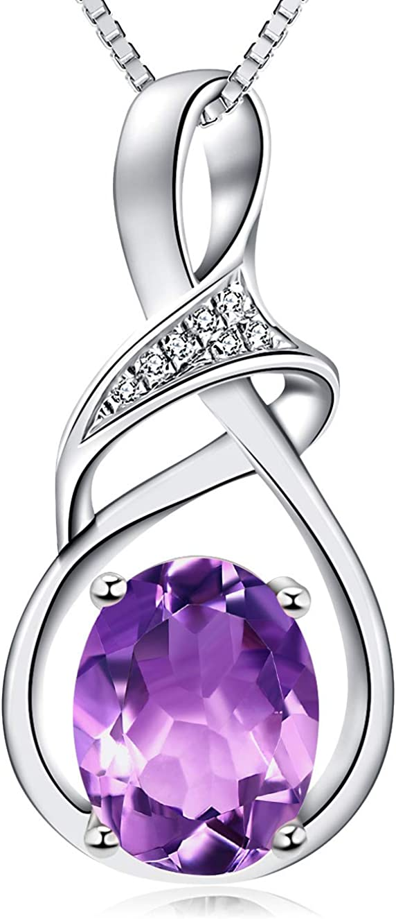 HXZZ Fine Jewelry Natural Gemstone Gifts for Women Sterling Silver Swiss Blue Topaz Amethyst Citrine Pendant Necklace