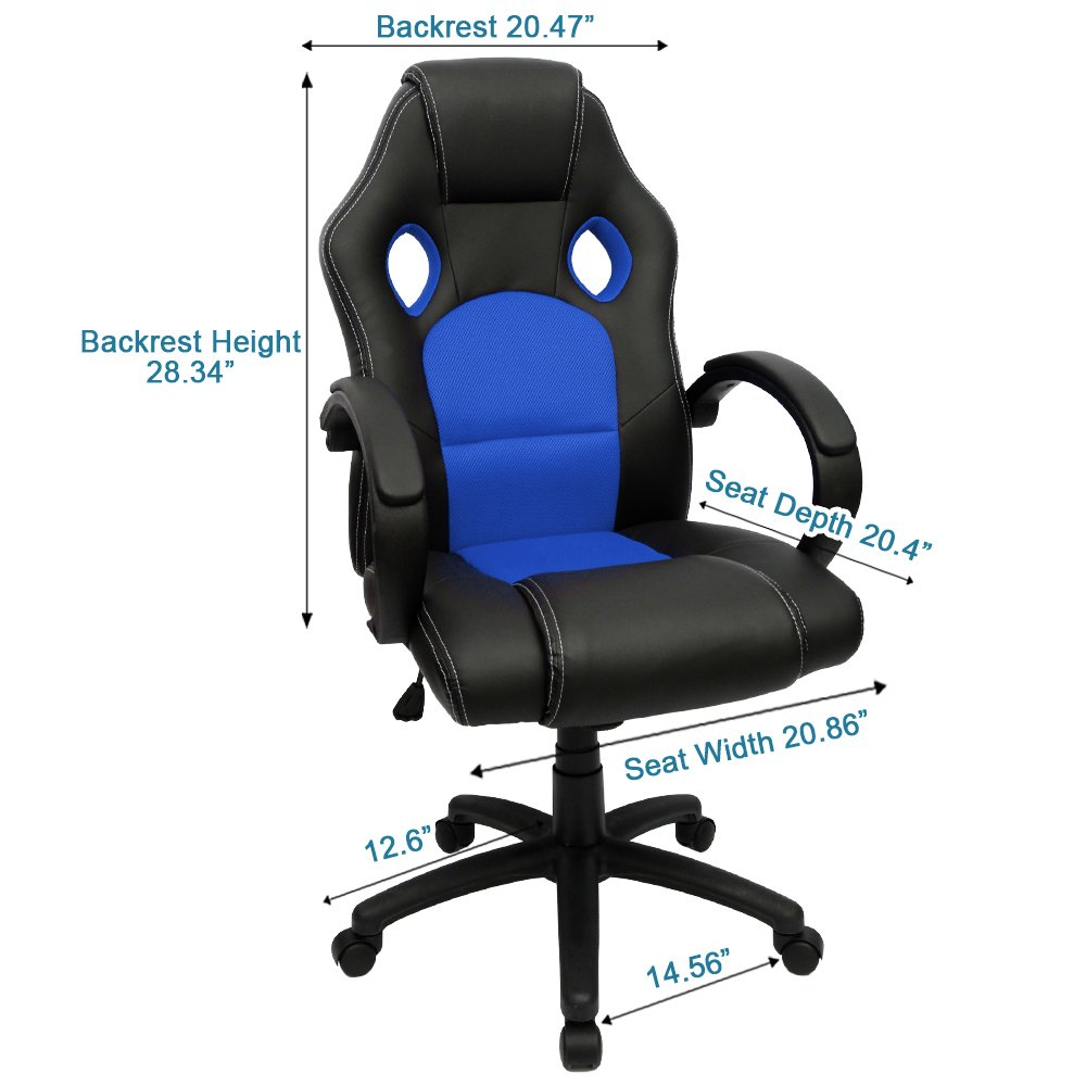 Amazon.com Gaming Chair Racing Computer Chair PU Leather Swivel Office Desk Seat PU Leather and Mesh Bucket Seat Lumbar Support(Blue) Kitchen u0026 Dining  sc 1 st  Amazon.com & Amazon.com: Gaming Chair Racing Computer Chair PU Leather Swivel ...