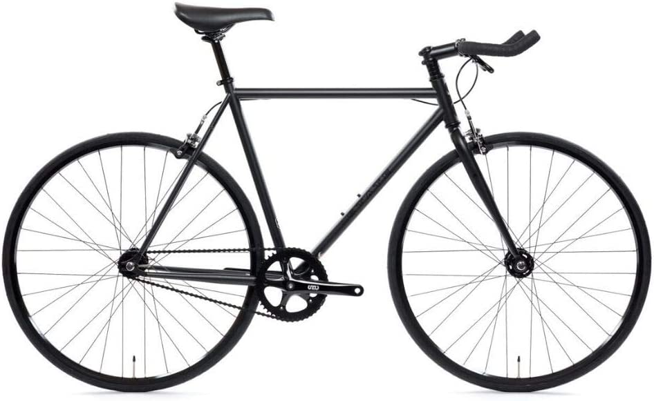 State Bicycle 4130 - The Matte Black | Double Butted Grade Chromoly Steel - Fixed Gear/Single Speed | 49cm Bullhorn