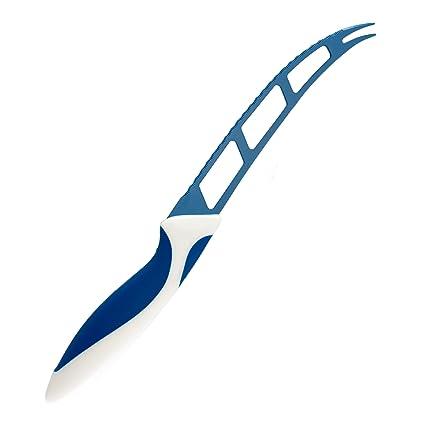 Bergner Cuchillo para Queso con Recubrimiento cerámico, 13,75 cm, Color Blanco y Rojo