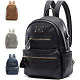 Miss Fong Backpacks for Women, Leather Backpack for Women, Laptop Backpack with USB Charger,Fits 13 Inch, 14 Inch Laptop (Black)
