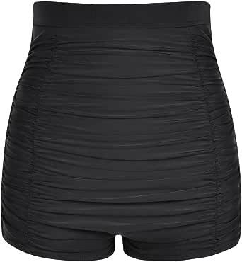 Firpearl Women's High Waisted Bikini Bottom 50s Ruched Boyleg Swimsuit Bottom