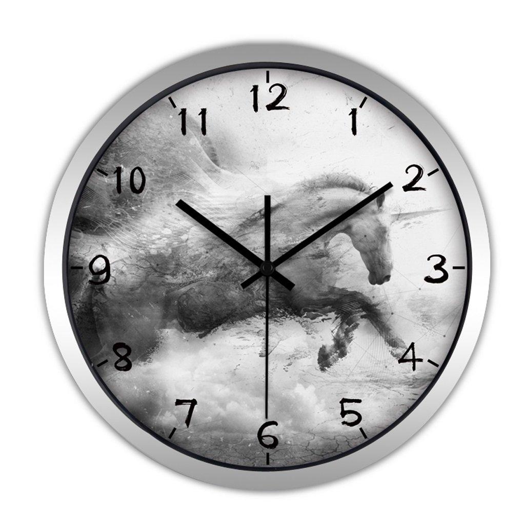 掛け時計 ウォールクロックモダンクリエイティブ中国の大きな居間の壁時計シンプルな静かな学校のクォーツ時計吊りテーブル Rollsnownow (色 : シルバー しるば゜, サイズ さいず : 12インチ) B07BKZHR17 12インチ シルバー しるば゜ シルバー しるば゜ 12インチ