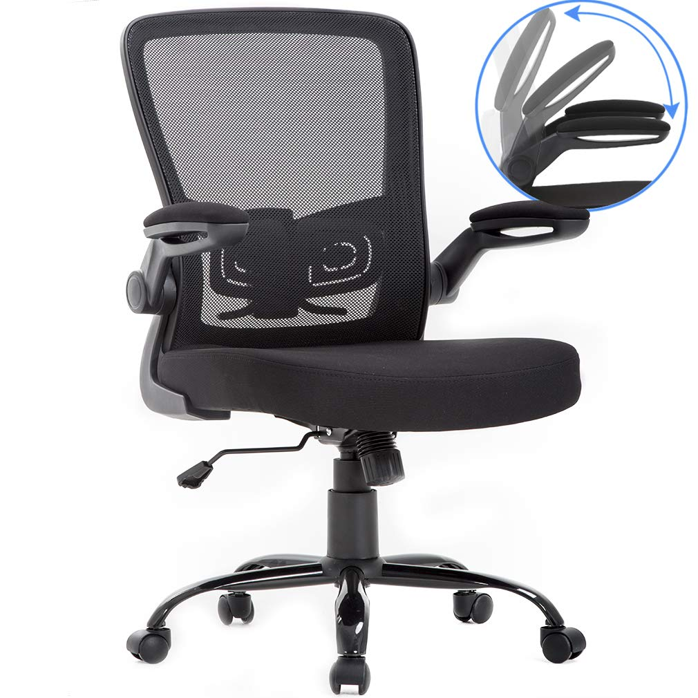 Ergonomic Office Chair Cheap Desk Chair Mesh Computer Chair with Lumbar Support Flip Up Arms Swivel Rolling Adjustable Mid Back Computer Chair for Women Men Adults,Black by BestOffice
