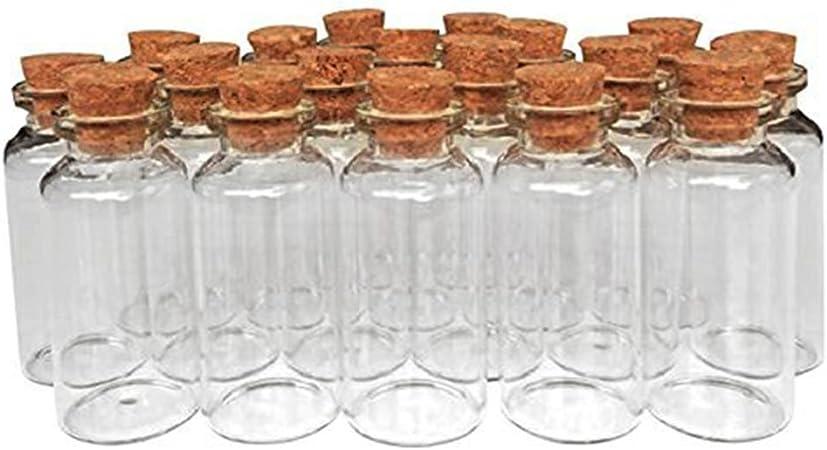 MINGZE 20 Piezas 20 ML Pequeñas Botellas de Cristal Botellas de Vidrio Pequeñas Frascos de Muestra con Tapones de Corcho para decoración de DIY, Aromas, Aceites, Especias, Dijes, Bodas, Mensaje: Amazon.es: Hogar
