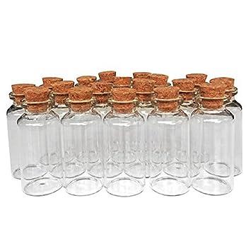 MINGZE 20 Piezas 20 ML Pequeñas Botellas de Cristal Botellas de Vidrio Pequeñas Frascos de Muestra